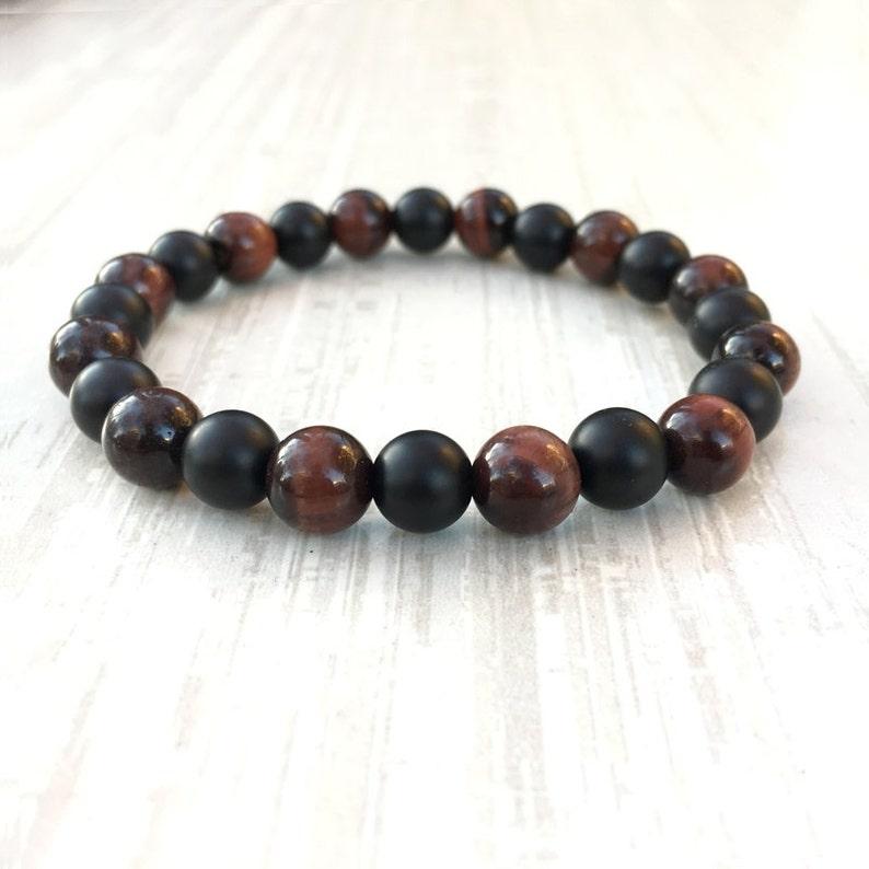 Feng Tigre Onyx Matamp; Perles Bracelet Noir Oeil Yoga Homme Shui Femme Rouge De nPZ0X8OkNw