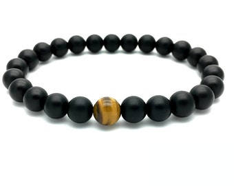 Matt black Onyx & Tiger eye - Mens bracelet - stretch bracelet - Mens gift - Mala bracelet - Beads bracelet