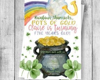 St. Patrick's Day Shamrock Birthday Party Invitation - 5x7