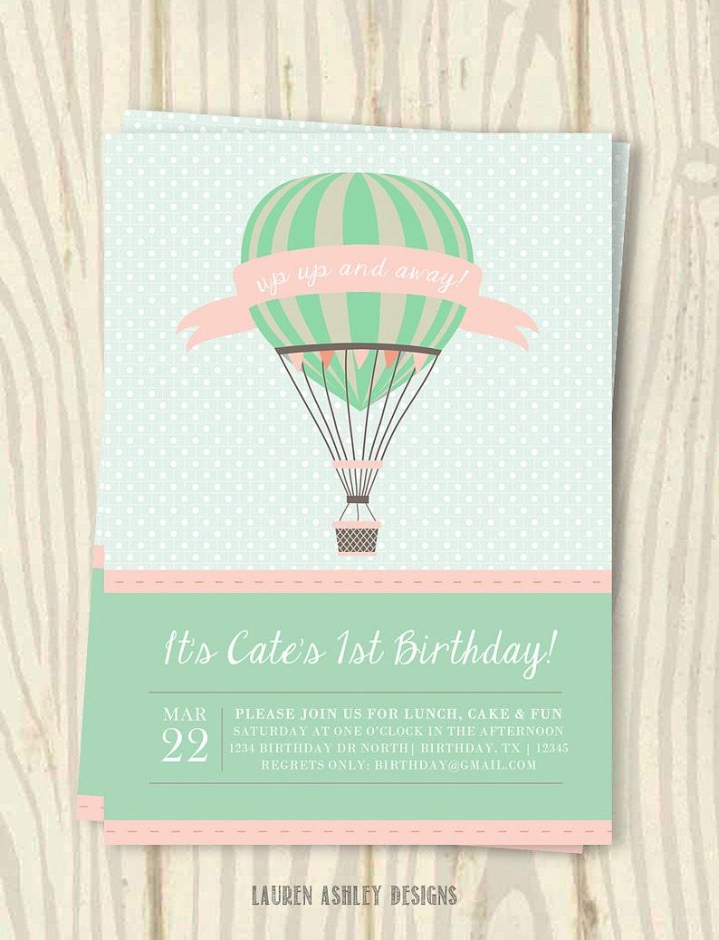 Hot Air Balloon Birthday Party Invitation 5x7 | Etsy