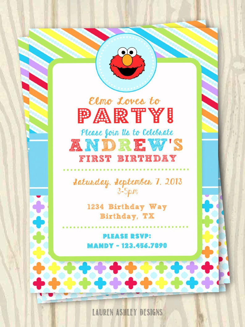 Elmo Theme Birthday Party Invitation 5x7 Etsy