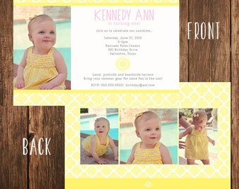 Our Little Sunshine Themed Birthday Photo Invitation
