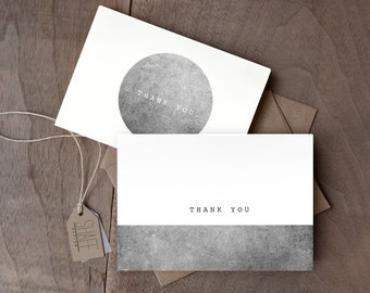 Set of 7 rustic geometric thank you cards - Black and white cards - minimal modern thank you cards