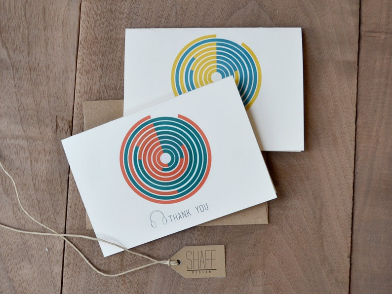music cards colorful circles note cards mustard yellow mint  modern cards turquoise red orange cards simple thank you note cards set