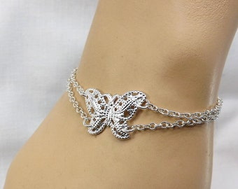 Silver Butterfly Bracelet Butterfly Jewelry gift for her gift under 30