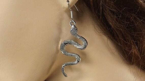 Long Earrings Stainless Steel Snake Earrings Snake Jewelry Silver Snake Earrings Long Snake Earrings Minimalist Snake Earrings