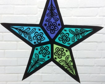 Stained Glass Star Suncatcher - Turquoise