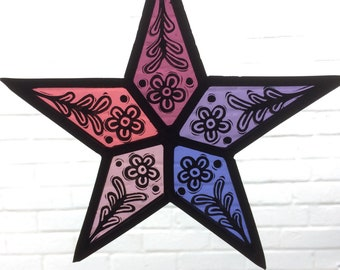 Stained Glass Star Suncatcher - Pink