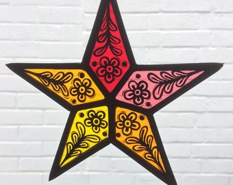 Stained Glass Star Suncatcher - Red