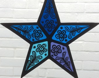 Stained Glass Star Suncatcher - Blue