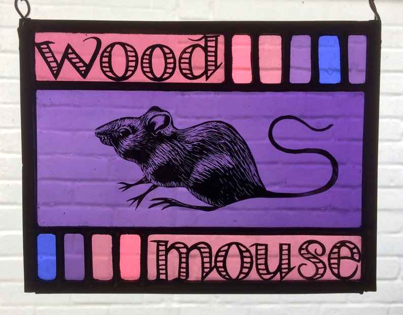 Wood Mouse Stained Glass Panel image 0