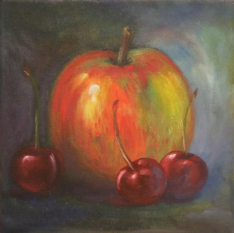 Apple Painting Still Life Original Oil Canvas Miniature Wall Art by Isolde Pavlovskaya.
