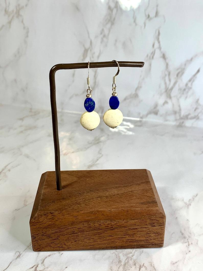 Lapis and White Bead Earrings