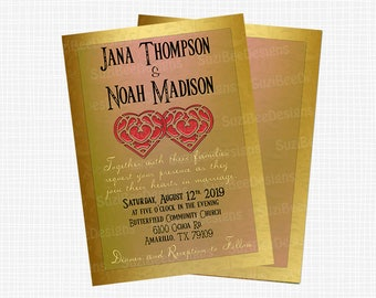 Zelda Wedding Invitation, Link Save the Date or Shower Invitation - Two Hearts Printable
