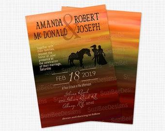 Zelda Wedding Invitation, Save the Date or Shower Invite, Silhouette - Printable