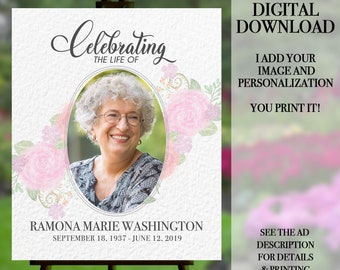 Funeral Welcome Sign, Celebration of Life Poster, Funeral Memorial, Memorial Service, Funeral Poster, Funeral Portrait, Memorial Flowers