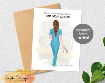 Nurse Appreciation Card, Front Line Medical Professional, Nursing Keepsake, Custom Card, Personalized Keepsake for Her