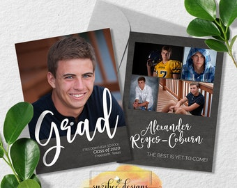Graduation Announcement for Class of 2021, Personalized Invitation For Him, For Her or Unisex - Digital Download Printable at Home