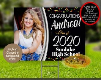 Graduation Yard Sign Template, Pandemic Graduation Poster Download, Class of 2021 Car Sign, Print Yourself