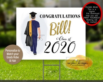 Male Nurse Graduation Yard Sign Template, Graduation Poster Download, Class of 2021 Car Sign, Personalized Print Yourself for Him