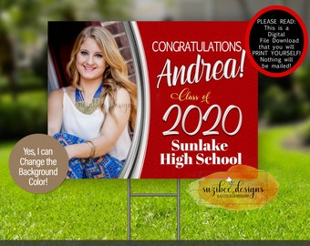 Graduation Yard Sign Template, Pandemic Graduation Poster Download, Personalized Class of 2021 Car Sign, Print Yourself