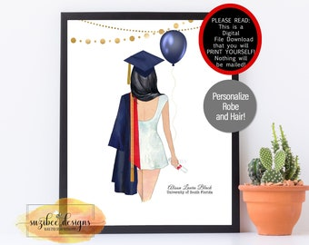 Graduation Portrait Print, Graduation Gift, Customized Class of 2021 Keepsake, Personalized Print at Home for Her