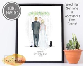 PRINTABLE Wedding Gift, Wedding Couple Portrait, Personalized Wedding Gift, Gift Print, Anniversary Gift, Last Minute Wedding Gift Ideas