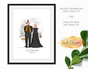 Halloween Wedding Gift, Wedding Couple Portrait, Personalized Wedding Gift, Gift Print, Anniversary Gift, Last Minute Wedding Gift Idea