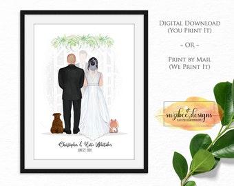 Wedding Gift, Wedding Couple Portrait, Personalized Wedding Gift, Wedding Gift Print, Anniversary Gift, Last Minute Wedding Gift Ideas