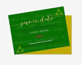 Zelda Wedding, Gamer Invitation, Save the Date, Wedding Invitation Template, Shower Invitation - Printable