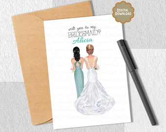Printable Will You Be My Bridesmaid,  Maid of Honor, Be In My Wedding, By My Side, Can't Say I Do Without You, Best Friends, BFF Card,