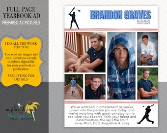Yearbook Ad, Senior Baseball Tribute Ad, Full Page, Half Page, Quarter Page, High School, Middle School, Elementary, Preschool, Dance Ad