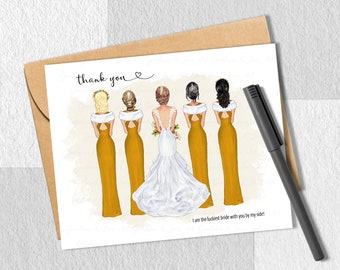 Printable Bridal Party Thank You, Customizable Bridesmaid Card, Bride Crew, Wedding Party, BFF Portrait, Personalized Gift