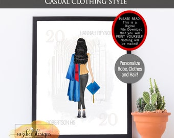 Graduation Portrait Print, Casual Clothing Graduation Gift, Pandemic Grad Customized Class of 2021 Personalized  Keepsake for Her