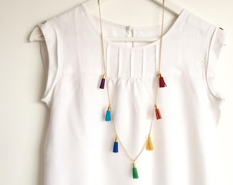 RAINBOW Multi-Tassel Necklace /Colourful Long Necklace with 7 Tassels