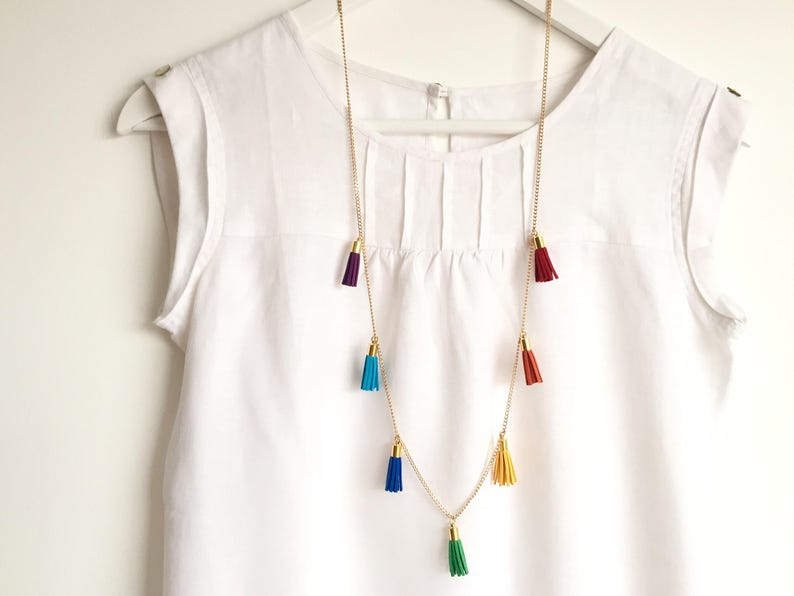 RAINBOW Multi-Tassel Necklace /Colourful Long Necklace with 7 image 0