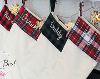plaid personalized stockings christmas stockings burlap stockings flannel stockings mom stocking christmas decor holiday stockings
