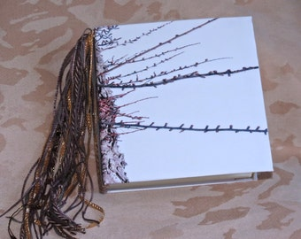 """Journal/Blank book. Tied binding. Use as a scrapbook, memory book, address book. This one is """"Winter Tree"""""""