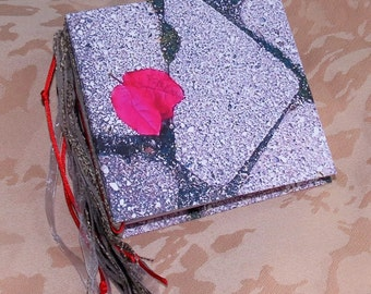"""Journal/Blank book. Tied binding. Use as a scrapbook, memory book, address book. This one is """"Petals & Stones"""""""