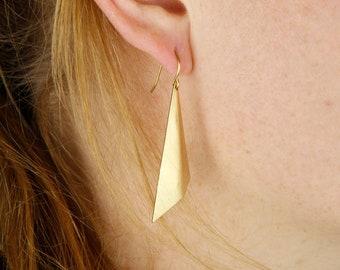 Vintage Geometric Earrings brass triangle