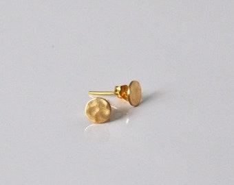 Vintage Brass Earrings Circle hammered