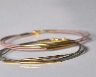 Leather Bracelet Tube Geometric minimalist