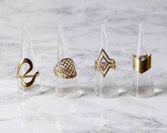 Ring Brass Geometric Gold