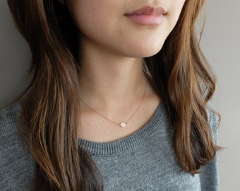 Cosette (Rose Gold) - simple and sweet dainty heart personalized handstamped 14k rose gold-filled necklace