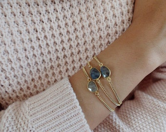 Genevieve (thick chain) - faceted labradorite gemstone 14k gold-filled curb chain bracelet