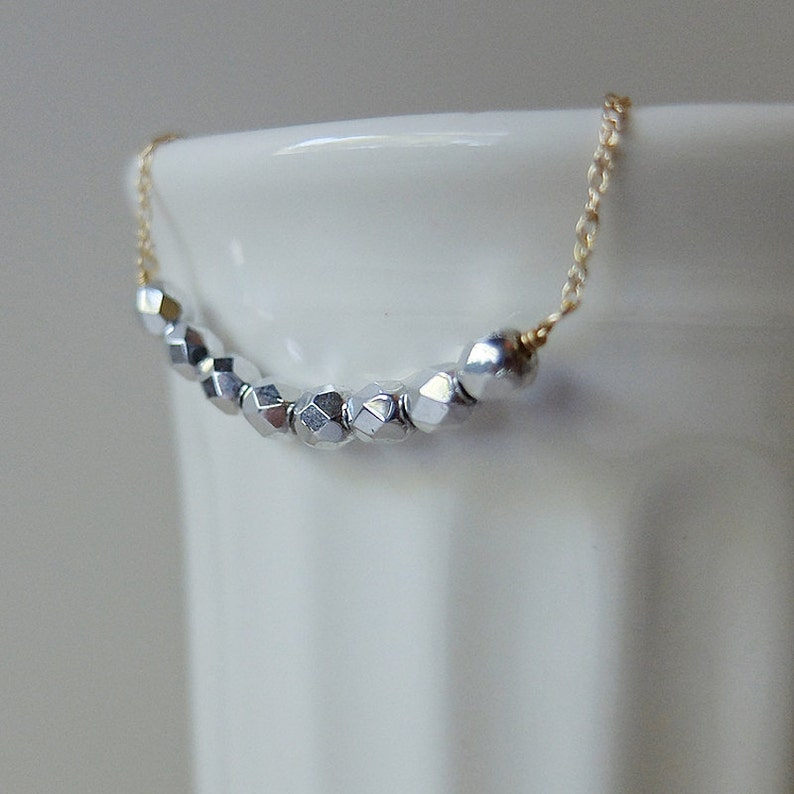 Audrey Silver  simple & sparkly beaded bar necklace image 0