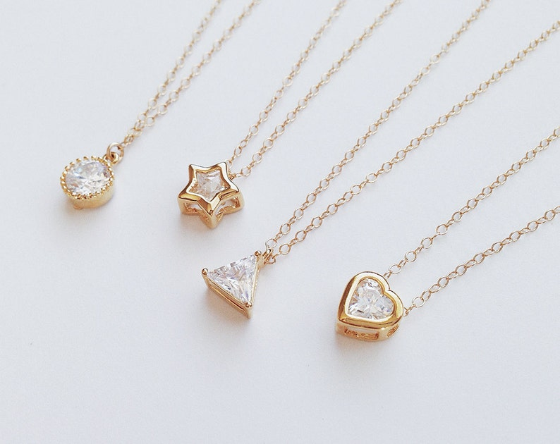 Juno Circle Star Triangle Heart  tiny gold cz crystal image 0