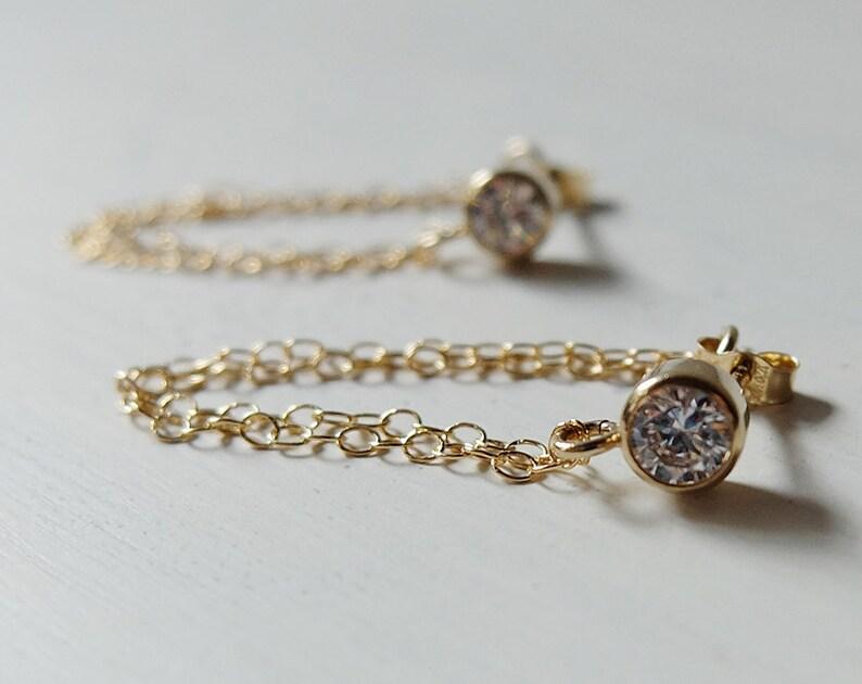 Arianna Gold  modern minimalist crystal & 14k gold-filled image 0