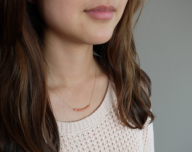 Audrey Coral  simple & sparkly beaded bar necklace image 0