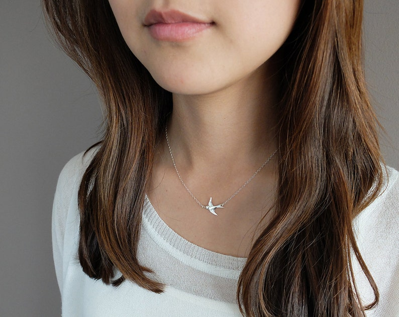 Wren Silver  simple & sweet sterling silver bird necklace image 0
